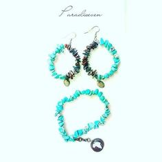 Turquoise and Brown Garnet Chip Bracelet and Earring Set
