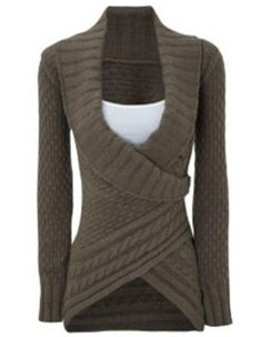 I would like to see asymmetrical sweaters that can be wrapped and fastened for warmth and a more figure flattering look