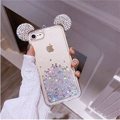 Floating Holographic Hearts Minnie Mickey Ears Liquid Waterfall Glitter Quicksand Disney Back Cover Case, iPhone 7 & iPhone 8 Disney Phone Cases, Girly Phone Cases, Iphone Phone Cases, Ipod Touch Cases, Iphone Cases Cute, Ipod Cases, Capa Iphone 6s Plus, Iphone 6 Plus Case, Apple Iphone 5
