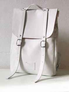White middle size leather backpack rucksack / To order