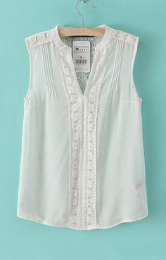V-Neck White Chiffon Tank Top
