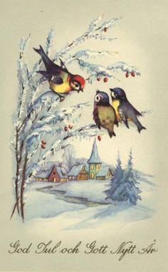 vintage Swedish Christmas card