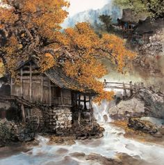 Wonderful Scenery He is one of the most celebrated landscape painters in China today. As a unique product of Chinese culture, landscape pa. Chinese Landscape Painting, Fantasy Landscape, Chinese Painting, Chinese Art, Landscape Paintings, Chinese Style, Landscapes, Dojo, Autumn Scenes