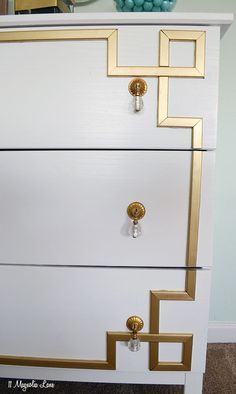 DIY Greek Key Overlay on IKEA Dresser 11 Magnolia Lanestep by step tutorial Gold Furniture, Furniture Makeover, Painted Furniture, Diy Furniture Overlays, Dresser Furniture, Furniture Stores, Office Furniture, Bedroom Furniture, Gold Diy