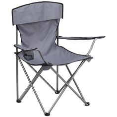 Flash Furniture Folding Camping Chair with Drink Holder in Gray [TY1410-GY-GG]