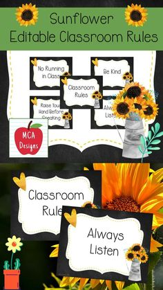"""This colorful set of classroom rules is part of my Sunflower Classroom Decor collection. In addition, to my """"print & go"""" classroom rules posters, I have included an editable file for you to personalize with your own rules! #teacherspayteachers #tpt #sunflower #farmhouse #editable #classroommanagement"""