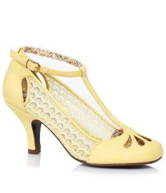 Yellow Cutout Posey Lace  Leatherette Retro T-Strap Heels $82.00 AT vintagedancer.com