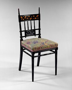 Furniture. Chair, 1877–79; Herter Brothers (1864-1906); New York City, New York. Ebonized cherry, marquetry of lighter woods, gilding.