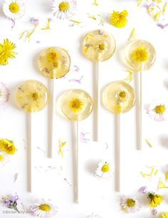 Honey & Lemon Floral Lollipops Recipe - a beautiful and tasty sweet treat that's easy to make at home for Spring tea or garden parties!