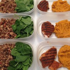 Meal Prep: Ground Turkey Quinoa Mix with Side Salad & Enchilada Chicken with Mashed Sweet Potatoes (Paleo) (www.onthe-in-side.com)