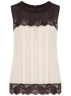 Lace hem pleated top - Blouses & Shirts  - Clothing