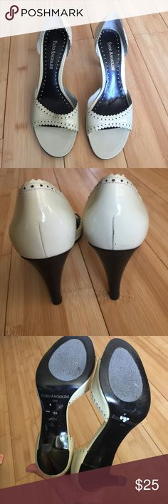 EUC Enzo anglioni leather patent cream 5.5 Where can I start!? I bought them for myself even that I am 6.5 but they are so pretty!!! They are like Barbie shoes omg! They are in perfect condition, just little signs of use inside the shoes, outside are PERFECT!! Please if you have tiny shoes buy them!!!! You will love them!!!! Size 5.5 they are a creamy light yellow, black heel so elegant Enzo Angiolini Shoes Heels