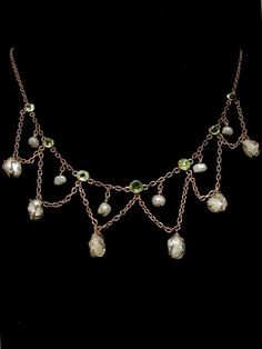 CWS!  35% OFF price shown on this Antique Art Nouveau Peridot Baroque Cultured Pearl Festoon Necklace
