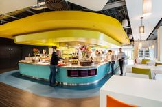 google amsterdam office. Breathtaking Google Office Cabin Design In Yellow Ceiling To Match With Blue Finished Island And Accent Amsterdam