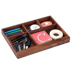 5 Compartment Dark Walnut Wood Office Desk Drawer Storage Organizer Tray * Learn more by visiting the image link.