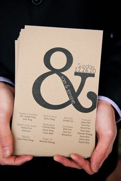 wedding program.simple.Love the &.