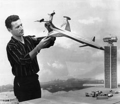 And the master behind the pioneering special effects, Derek Meddings, with Fireflash and London Airport models, from 'Thunderbirds' by Gerry and Sylvia Anderson (AP Films) Jamie Anderson, 1960s Tv Shows, Sci Fi Models, Role Models, Strange Tales, Special Effects, Sci Fi Art, Costumes, Nostalgia