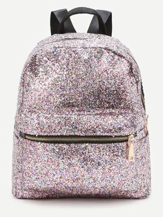 Shop Pink Front Zipper Glitter Backpack at ROMWE, discover more fashion styles online. Cute Mini Backpacks, Stylish Backpacks, Girl Backpacks, Fashion Bags, Fashion Backpack, Mochila Adidas, Backpack Purse, Backpack Online, Travel Backpack