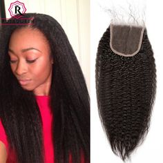 59.50$  Buy now - http://alia0c.worldwells.pw/go.php?t=32791331052 - Kinky Straight Hair Closure With Baby Hair Coarse Yaki Top Lace Closure Bleached Knot Brazilian Yaki Straight Human Hair Closure