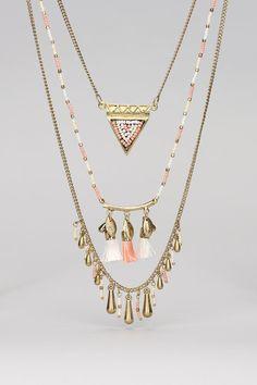 Sautoir perles et pompons Tular Doré Pieces sur MonShowroom.com