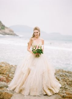 Someday, I want a wedding dress like this! Get inspired: A gorgeous wedding dress in a softly washed out peach hue. so romantic! Bridal Dresses, Wedding Gowns, Cake Wedding, Wedding Shoot, Tulle Ballgown Wedding Dress, Mermaid Wedding, Tule Wedding Dress, Fluffy Wedding Dress, Wedding Venues