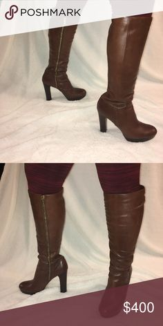 """Michael Kors Lesley Knee High Boot Gorgeous mocha colored Knee High boots! Excellent condition- these have an inside zipper, 5"""" block heel and a 1"""" platform. Calf circumference measures 16.5"""" and shaft measures 16.5"""". Amazing boots! Michael Kors Shoes Heeled Boots"""