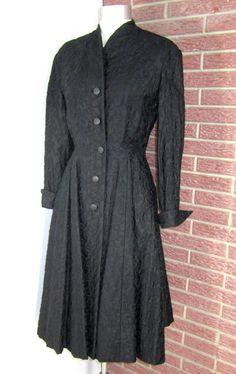 40s/50s Rafi (Handlesman & Raiffe) via Henri Bendel, NY Polished black cotton, rubylane.com http://www.rubylane.com/item/395647-shpe48/Vintage-40s-50s-Rafi-Look
