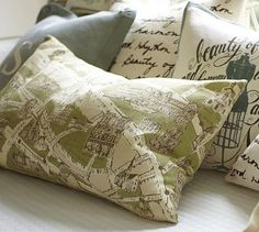 Paris Map Lumbar Pillow Cover from Pottery Barn...kind of an inspiration piece for me