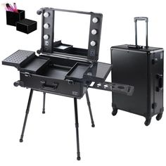 Pro Professional Artist Studio Rolling Hair Stylist Cosmetic Makeup Train Table Case With Light >>> Check this awesome product by going to the link at the image.