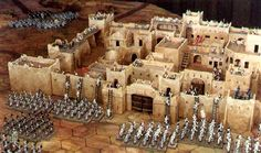 """Khartoum-style Walled City for Wargaming. The city is in 25mm scale, and measures approximately 35"""" (89cm) on a side. Even thought it is """"Khartoum-style"""" it could easily be re-styled and become just about any ancient city such as Ur, Lagash, Akkad, Assur, Nineveh, Lachish, Ashkelon, Babylon and dozens more!"""