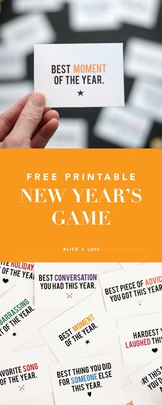 Free Printable New Year's Game #NYE #NYEgame #printable