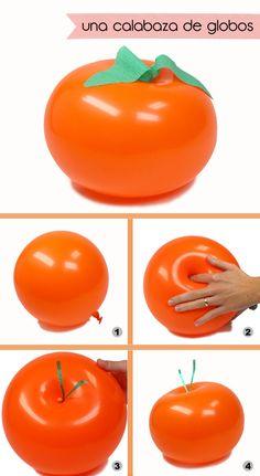 Haz una calabaza con globos! Ver cómo en blog.fiestafacil.com / Make a pumpkin with balloons! See how in blog.fiestafacil.com