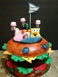 Spongebob Krabby Patty cake https://www.facebook.com/roartasticdesserts/