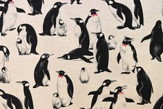 Japanese Fabric - Emperor penguins canvas - natural - 50cm