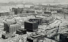 Construction of Busch Memorial Stadium, March (Photo: Missouri History Museum) Stl Cardinals, St Louis Cardinals, Baseball Park, Busch Stadium, St Louis Mo, Aerial View, Missouri, Paris Skyline, Places To Visit