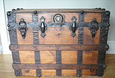 1890's Flat Top Steamer Trunk Antique Trunk by RustyNailDesign, $225.00