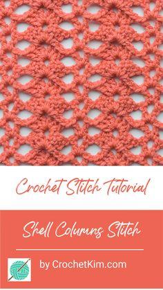 Shell Columns Free Crochet Stitch Tutorial - Free Crochet Patterns from CrochetKim - Diy Crochet Projects, Crochet Crafts, Crochet Lace, Free Crochet, Crochet Stitches Patterns, Knitting Stitches, Stitch Patterns, Crochet Shawl Diagram, Tunisian Crochet
