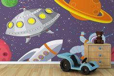 Cartoon UFO Wall Mural