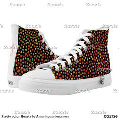 Pretty color Hearts High-Top Sneakers. #Sneakers #hearts Custom Sneakers, On Shoes, Converse Chuck Taylor, High Tops, High Top Sneakers, Hearts, Pairs, Running, Unisex