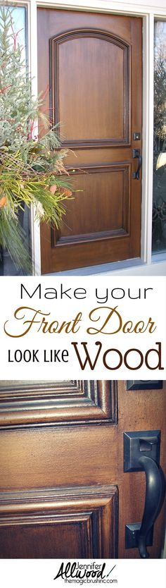 Improve your houses curb appeal! Heres a easy front porch makeover - just make your front door look like real wood! This how-to video teaches you how to stain your door to look like expensive, authentic, stained wood. - Home Projects We Love Front Porch Makeover, Door Makeover, Painted Doors, Wood Doors, Diy Kit, Front Door Colors, Porch Decorating, Real Wood, House Painting
