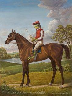 蛙のジョッキー(騎手)