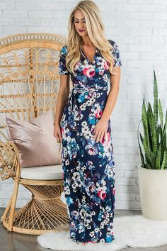 Rhythm And Blooms Wrap Maxi in Navy