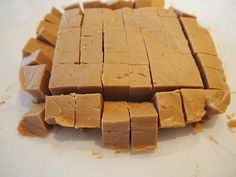 EASY PEANUT BUTTER FUDGE  2 sticks butter 1 cup creamy peanut butter 1 tsp. vanilla 1 lb. powdered sugar  Melt the butter and peanut butter (you may use microwave). Stir in vanilla. Beat in powdered sugar. Quickly spread into a buttered 8x8-inch square buttered dish. Chill to set. Cut into 64 squares.