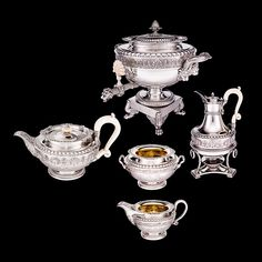 Tea And Coffee Service And Matching Urn Paul Storr was a leading Regency silversmith and the design of this elegant serpent handled tea and coffee service was one of the most popular marketed by the firm, Rundell, Bridge & Rundell. They supplied silver to the Prince Regent as well as other notable aristocratic families. The teapot in this set is circular and modelled in the form of an ancient Roman lamp, reflecting the continued influence of classical antiquity on English design.