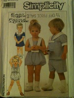 #Simplicity8103. Toddlers' top, pull-on shorts and bubble suit, size 1/2-2. Copyright 1986.
