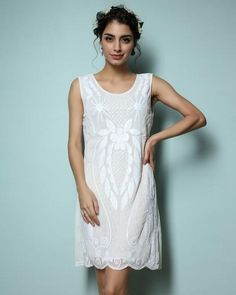 ONE SIZE SM MED Vintage LOOK Sequined Sleeveless Straight Party Dress  Embroidery Mini Tank Dress HOLIDAY 7145fdbb7fc4