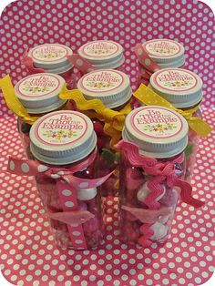 DIY Gift Jars ~ A TON of ideas for Relief Society, Visiting Teaching, and Young Womens {Desserts, handouts, party decorations. Tapas, Lds Church, Church Ideas, Relief Society Activities, Church Activities, Mutual Activities, Enrichment Activities, Therapy Activities, Young Women Activities