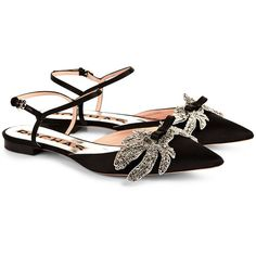 Rochas Black Satin Rhinestone Leaf Sandals ($630) ❤ liked on Polyvore featuring shoes, sandals, flats, ankle strap flats, black rhinestone sandals, pointed toe flats, black pointy toe flats and black bow sandals
