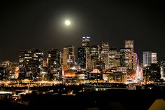 Full Moon over Downtown Denver Skyline HDR Denver Skyline, Date Night Dinners, World Geography, Denver Colorado, Visit Colorado, Colorado Springs, City Lights, Rocky Mountains, San Francisco Skyline