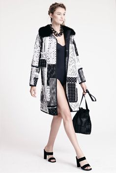 Dennis Basso Resort 2016 Black Sable and Hand Embroidered Patchwork Coat and Black Broadtail/Alligator Patchwork Handbag